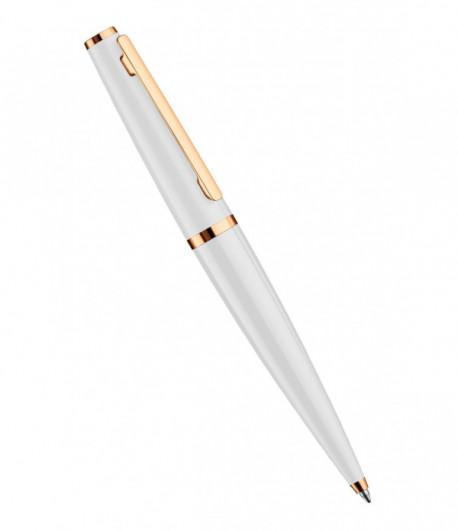 Stylo à Bille Otto Hutt Design 06 laqué blanc, attributs plaqués or rose