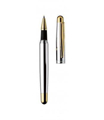 Roller Design 02, argent massif lisse, attributs dorés