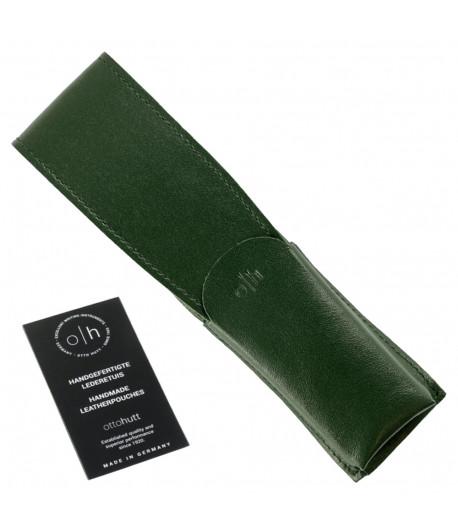 Étui cuir vert pour deux stylos